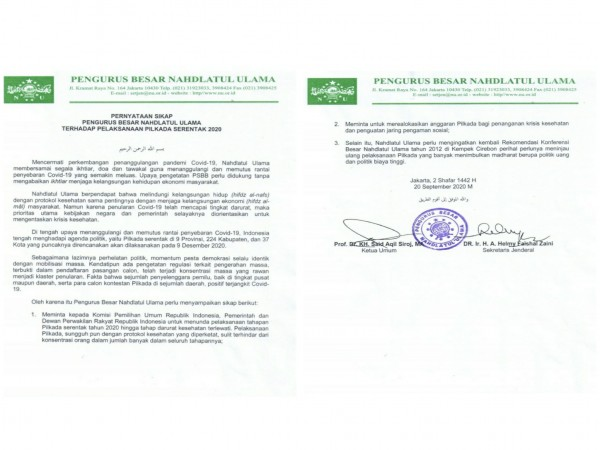 Indonesia Berada di Titik Darurat Covid-19, PBNU Minta Tunda Pilkada Serentak 2020